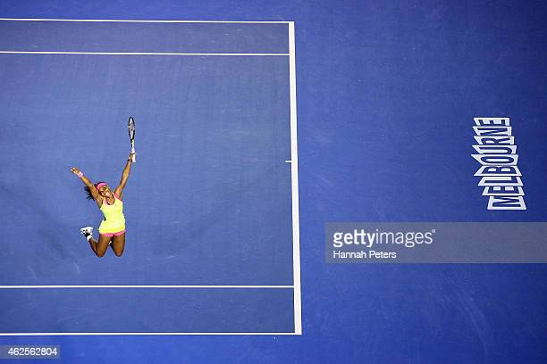 Serena Williams of the United States celebrates winning championship point in her women's final match against Maria Sharapova of Russia during day 13...