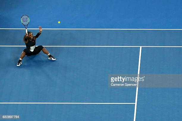 Serena Williams of the United States celebrates winning championship point in her Women's Singles Final match against Venus Williams of the United...