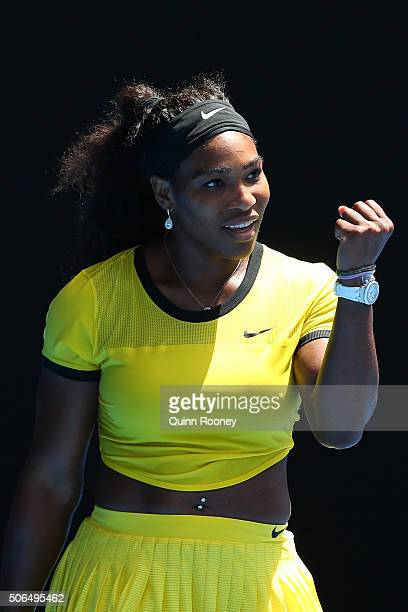 Serena Williams of the United States celebrates winning her fourth round match against Margarita Gaspatryan of Russia during day seven of the 2016...