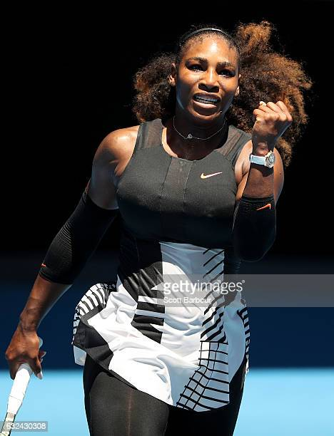 Serena Williams of the United States celebrates winning her fourth round match against Barbora Strycova of the Czech Republic on day eight of the...