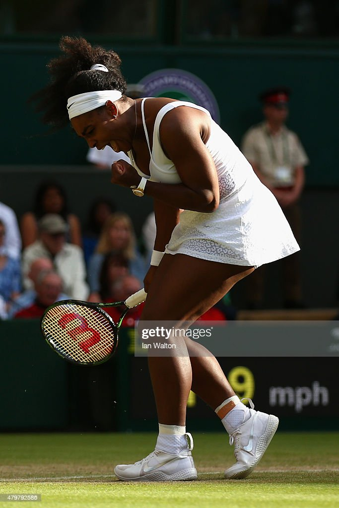 Serena Williams of the United States celebrates winning her Ladies Singles Quarter Final match against Victoria Azarenka of Belarus during day eight of the Wimbledon Lawn Tennis Championships at the All England Lawn Tennis and Croquet Club on July 7, 2015 in London, England.