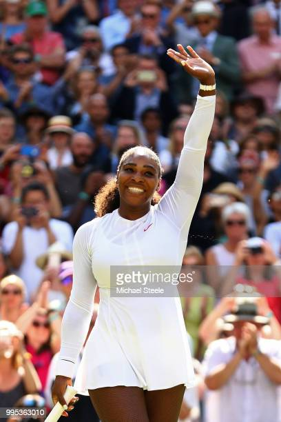 Serena Williams of the United States celebrates winning her Ladies' Singles QuarterFinals match against Camila Giorgi of Italy on day eight of the...