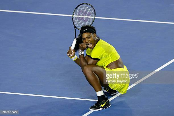 Serena Williams of the United States celebrates winning her semi final match against Agnieszka Radwanska of Poland during day 11 of the 2016...