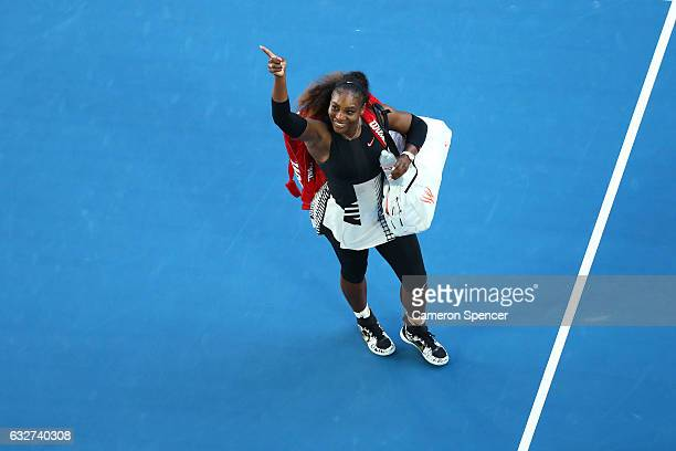 Serena Williams of the United States celebrates winning her semifinal match against Mirjana LucicBaroni of Croatia on day 11 of the 2017 Australian...