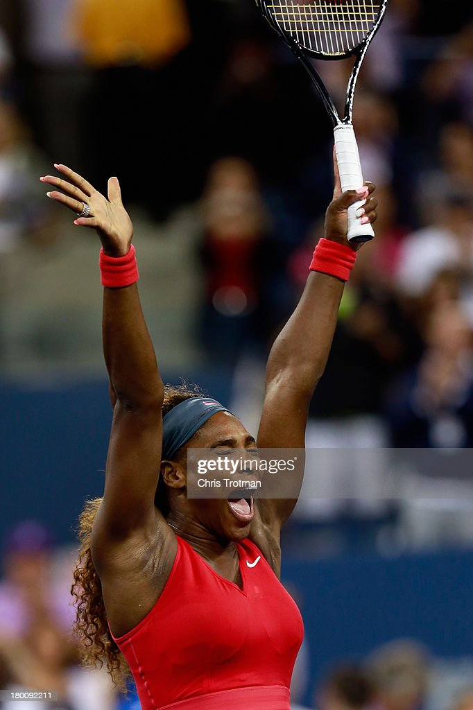 Serena Williams of the United States celebrates winning her women's singles final match against Victoria Azarenka of Belarus on Day Fourteen of the 2013 US Open at the USTA Billie Jean King National Tennis Center on September 8, 2013 in New York City.