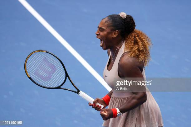 Serena Williams of the United States celebrates winning match point in the third set during her Women's Singles fourth round match against Maria...