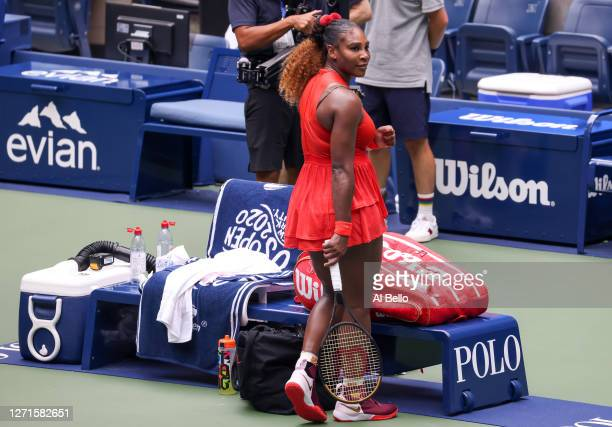 Serena Williams of the United States celebrates winning match point during her Women's Singles quarterfinal match against Tsvetana Pironkova of...