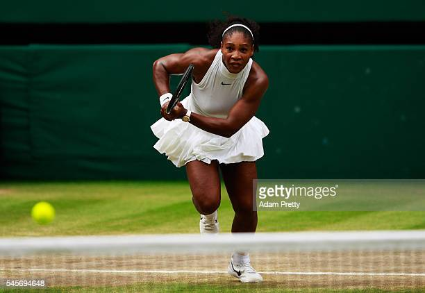 Serena Williams of The United States chases the ball during The Ladies Singles Final against Angelique Kerber of Germany on day twelve of the...
