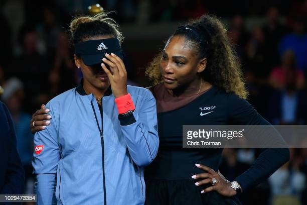 Serena Williams of the United States comforts Naomi Osaka of Japan after Osaka won the Women's Singles finals match on Day Thirteen of the 2018 US...