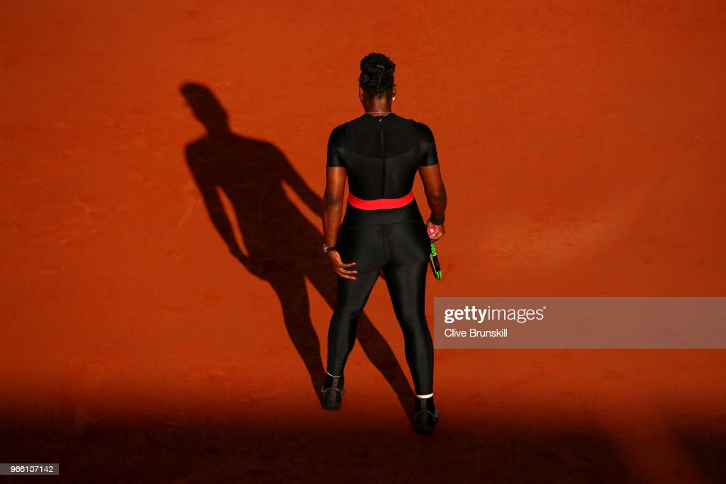 Serena Williams of The United States comperes during the ladies singles third round match against Julia Georges of Germany during day seven of the 2018 French Open at Roland Garros on June 2, 2018 in Paris, France.