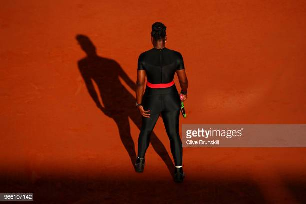 Serena Williams of The United States comperes during the ladies singles third round match against Julia Georges of Germany during day seven of the...