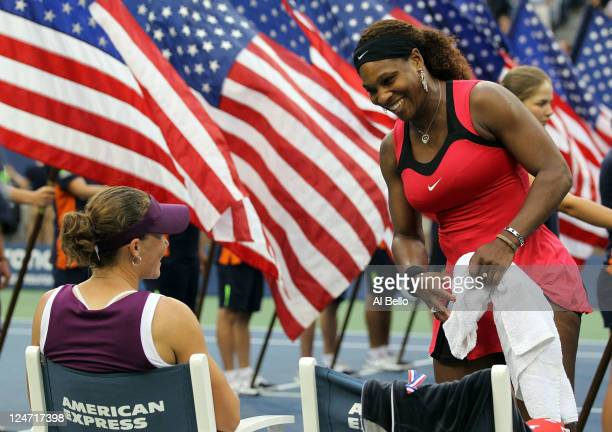 Serena Williams of the United States congratulates Samantha Stosur of Australia on her win during the Women's Singles Final on Day Fourteen of the...