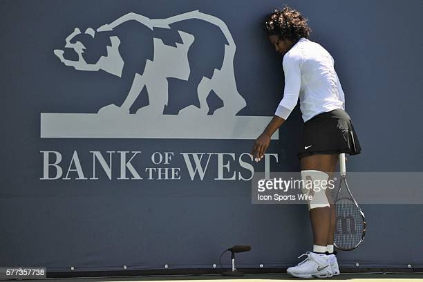 Serena Williams of the United States during her 26 13 loss to Aleksandra Wozniak of Canada in their singles match at the Bank of the West Classic in...