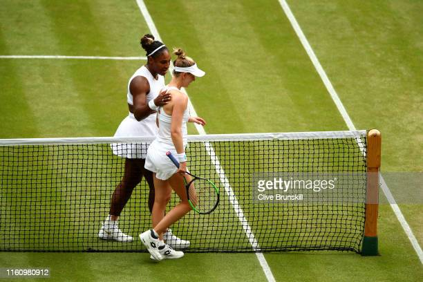 Serena Williams of the United States embraces Alison Riske of the United States following victory in her Ladies' Singles Quarter Final match during...