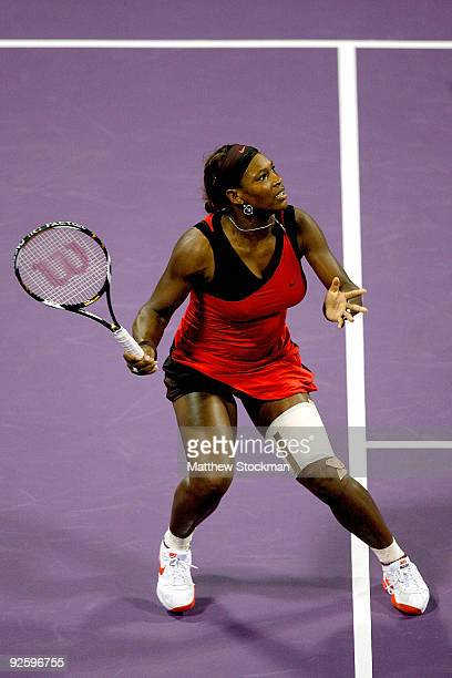Serena Williams of the United States fades back for a shot against Venus Williams of the United States during the final of the Sony Ericsson WTA...