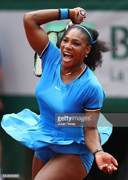 Serena Williams of the United States hits a forehand during the Ladies Singles third round match against Kristina Mladenovic of France on day seven...