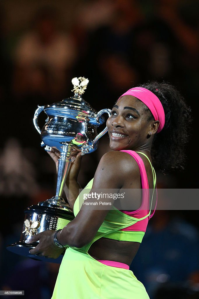 Serena Williams of the United States holds the Daphne Akhurst Memorial Cup after winning the women's final match against Maria Sharapova of Russia during day 13 of the 2015 Australian Open at Melbourne Park on January 31, 2015 in Melbourne, Australia.