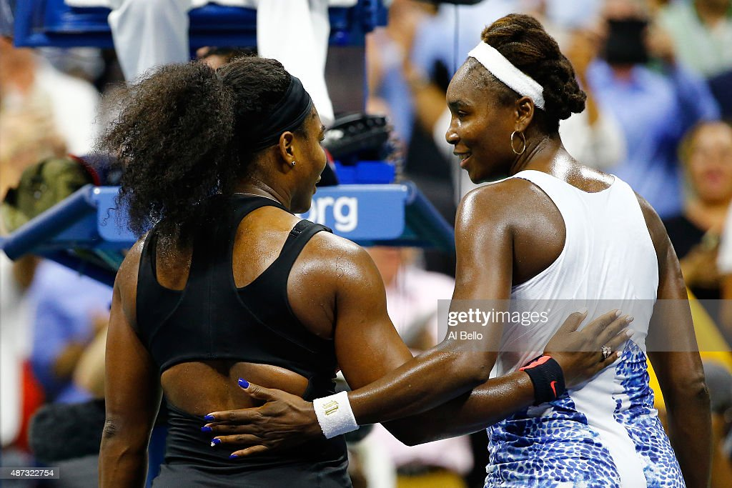 Serena Williams (L) of the United States hugs Venus Williams of the United States after defeating her in their Women's Singles Quarterfinals match on Day Nine of the 2015 US Open at the USTA Billie Jean King National Tennis Center on September 8, 2015 in the Flushing neighborhood of the Queens borough of New York City.