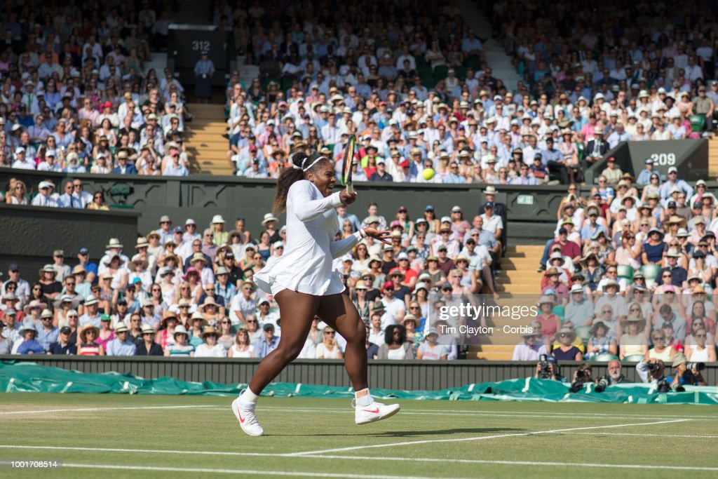 Serena Williams of the United States in action against Angelique Kerber of Germany in the Ladies' Singles Final on Center Court during the Wimbledon Lawn Tennis Championships at the All England Lawn Tennis and Croquet Club at Wimbledon on July 14, 2018 in London, England.