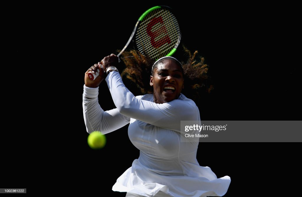 Serena Williams of The United States in action against Angelique Kerber of Germany during the Ladies' Singles final on day twelve of the Wimbledon Lawn Tennis Championships at All England Lawn Tennis and Croquet Club on July 14, 2018 in London, England