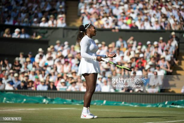 Serena Williams of the United States in action against Angelique Kerber of Germany in the Ladies' Singles Final on Center Court during the Wimbledon...
