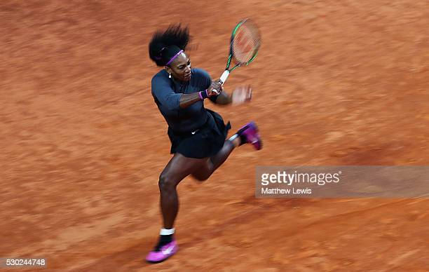 Serena Williams of the United States in action against AnnaLena Friedsam of Germany during day three of The Internazionali BNL d'Italia 2016 on May...