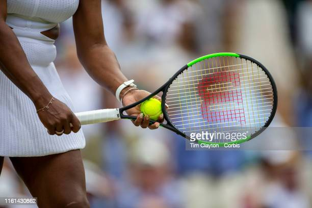 July 11: Serena Williams of the United States in action against Barbora Strycova of the Czech Republic in the Ladies Singles Semifinals on Centre...