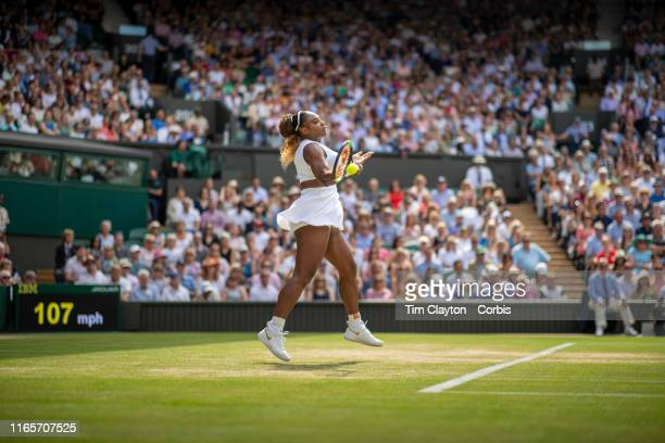 July 11: Serena Williams of the United States in action against Barbora Strycova of the Czech Republic in the Ladies Singles Semi-finals on Centre...