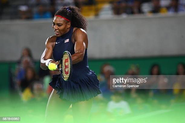 Serena Williams of the United States in action against Elina Svitolina of Ukraine during a Women's Singles Third Round match on Day 4 of the Rio 2016...