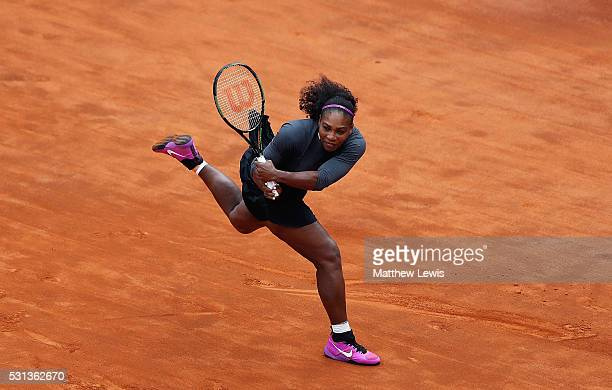 Serena Williams of the United States in action against IrinaCamelia Begu of Romania during day seven of The Internazionali BNL d'Italia 2016 on May...