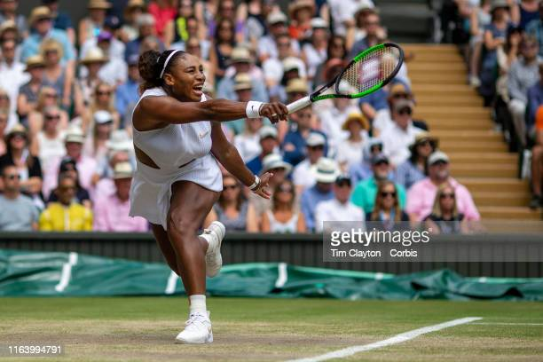 July 13: Serena Williams of the United States in action against Simona Halep of Romania during the Ladies Singles Final on Centre Court during the...