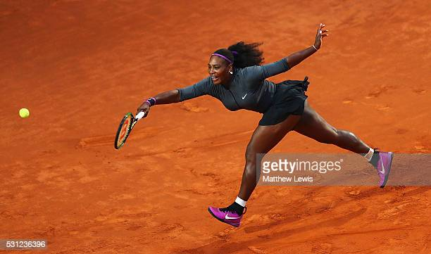 Serena Williams of the United States in action against Svetlana Kuznetsova of Russia during day six of the The Internazionali BNL d'Italia 2016 on...