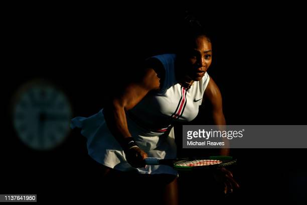 Serena Williams of the United States in action during her match against Rebecca Peterson of Sweden during Day 5 of the Miami Open Presented by Itau...