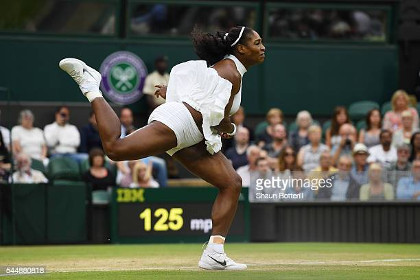 Serena Williams of The United States in action during the Ladies Singles fourth round match against Svetlana Kuznetsova of Russia on day seven of the...