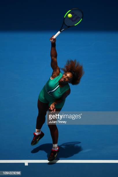 Serena Williams of the United States in action in her first round match against Tatjana Maria of Germany during day two of the 2019 Australian Open...