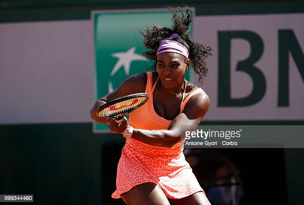 Serena Williams of the United States in the Women's Singles Final against Lucie Safarova of Czech Republic on day fourteen of the 2015 French Open at...