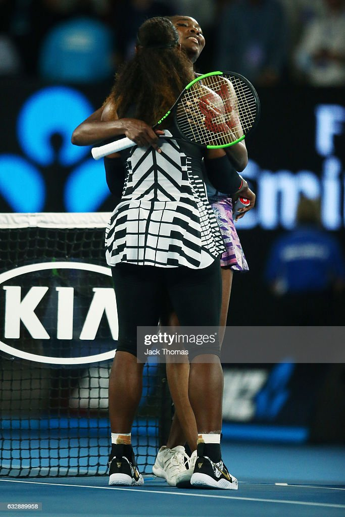 Serena Williams of the United States is congratulated by Venus Williams of the United States after winning the Women's Singles Final match against on day 13 of the 2017 Australian Open at Melbourne Park on January 28, 2017 in Melbourne, Australia.