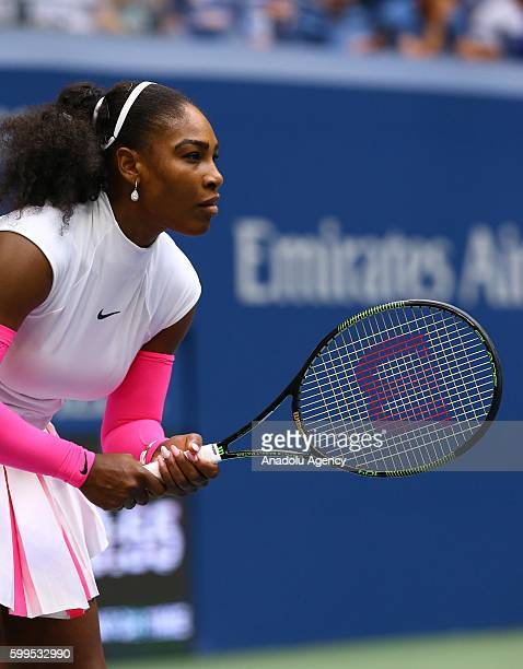 Serena Williams of the United States is in action against Yaroslava Shvedova of Kazakhstan during her fourth round Women's Singles match on Day Eight...