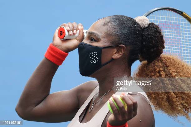 Serena Williams of the United States is seen after defeating Maria Sakkari of Greece during their Women's Singles fourth round match on Day Eight of...