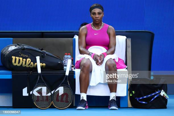 Serena Williams of the United States is seen during the set break in her match against Tsvetana Pironkova of Bulgaria during day four of the WTA 500...