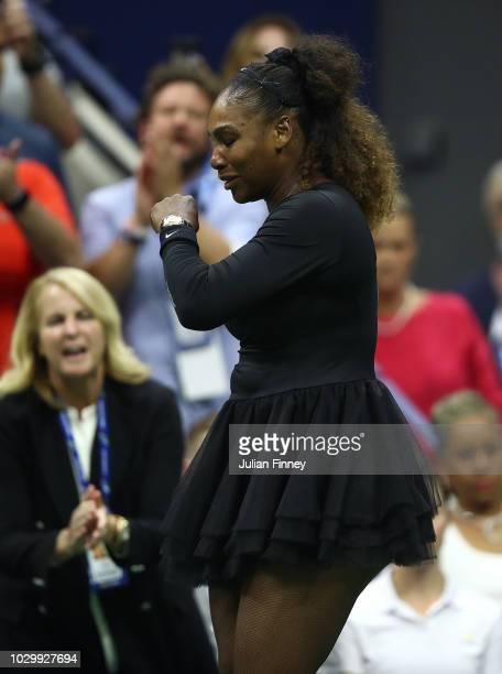 Serena Williams of the United States looks dissapointed in the Women's Singles finals match against Naomi Osaka of Japan on Day Thirteen of the 2018...