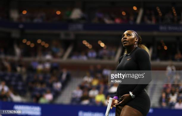 Serena Williams of the United States looks on during her Women's Singles semifinal match against Elina Svitolina of the Ukraine on day eleven of the...