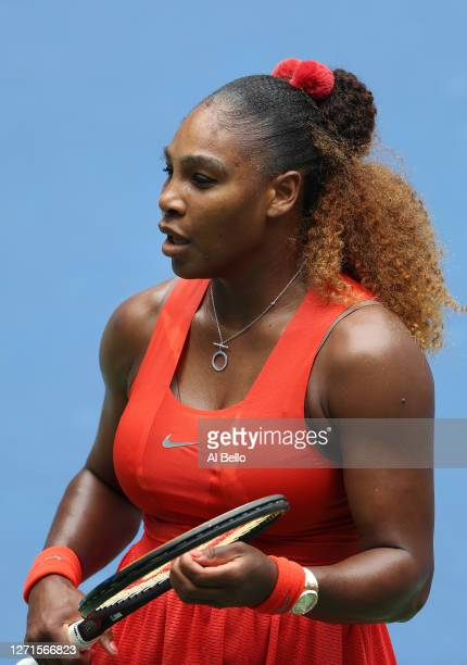 Serena Williams of the United States looks on during her Women's Singles quarterfinal match against Tsvetana Pironkova of Bulgaria on Day Ten of the...