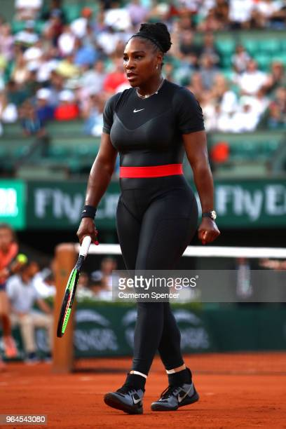 Serena Williams of The United States looks on during the ladies singles second round match against Ashleigh Barty of Ausralia during day five of the...