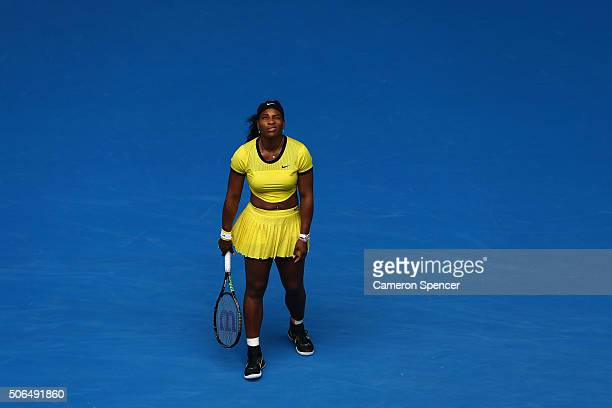 Serena Williams of the United States looks on in her fourth round match against Margarita Gaspatryan Russia during day seven of the 2016 Australian...