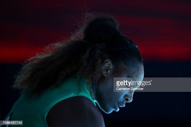 Serena Williams of the United States looks on in her quarter final match against Karolina Pliskova of Czech Republic during day 10 of the 2019...