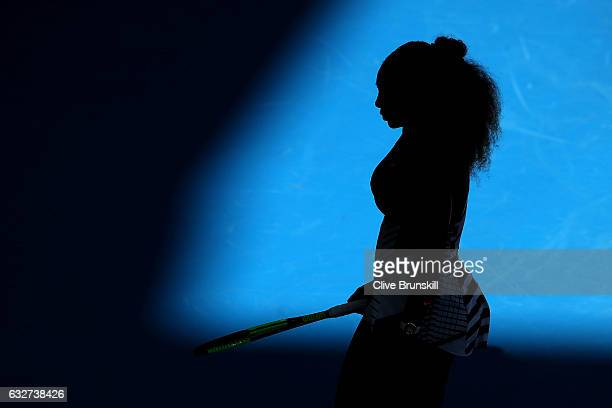 Serena Williams of the United States looks on in her semifinal match against Mirjana LucicBaroni of Croatia on day 11 of the 2017 Australian Open at...