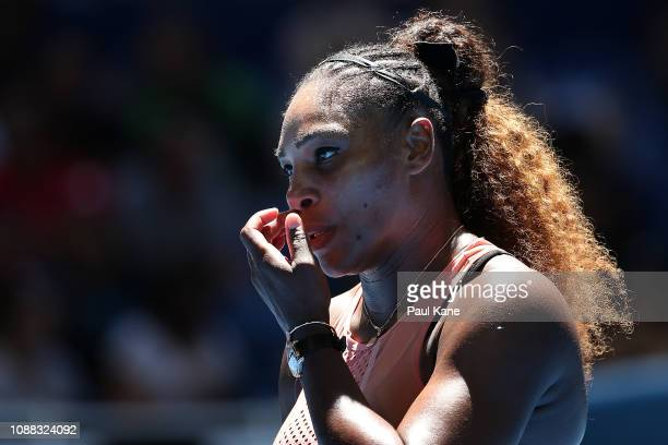 Serena Williams of the United States looks on in her singles match against Maria Sakkari of Greece during day three of the 2019 Hopman Cup at RAC...