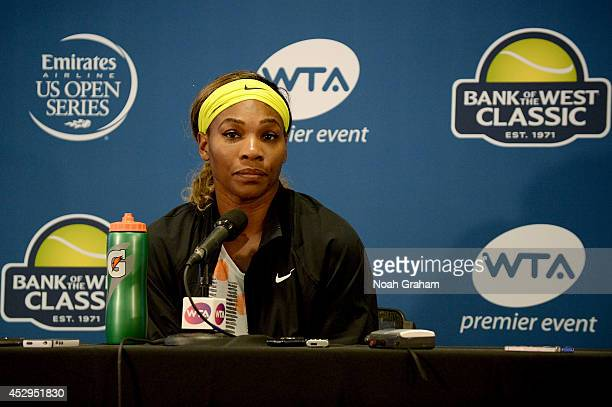 Serena Williams of the United States of America addresses members of the media after her win during Day 3 of the Bank of the West Classic at the...
