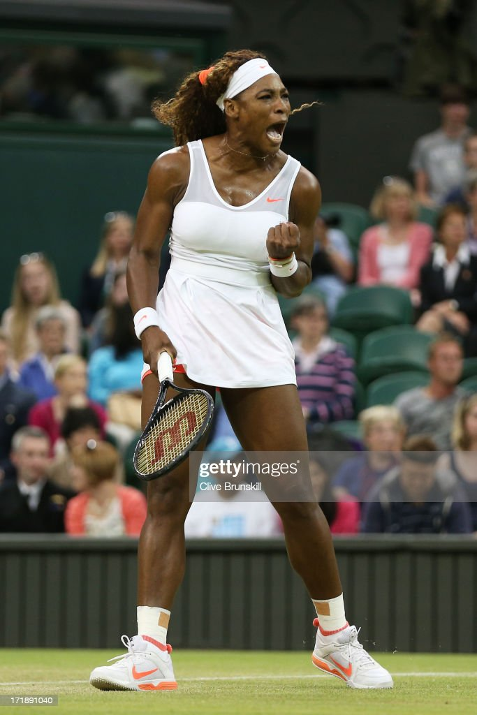 Serena Williams of the United States of America celebrates a point during the Ladies' Singles third round match against Kimiko Date-Krumm of Japan on day six of the Wimbledon Lawn Tennis Championships at the All England Lawn Tennis and Croquet Club on June 29, 2013 in London, England.
